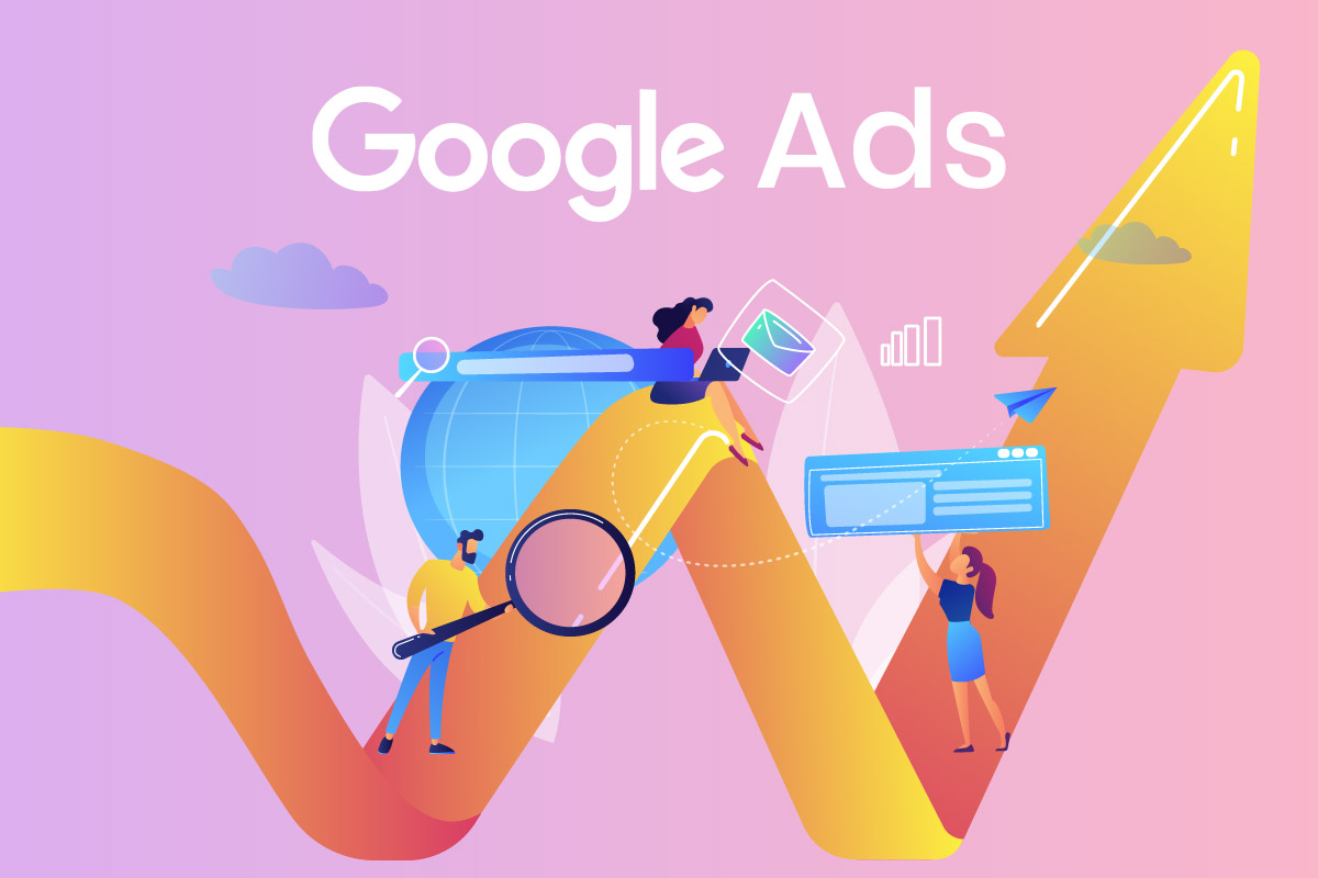 Human Icons on arrow representing Google ads